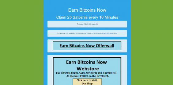 Інтерфейс Bitcoin faucet Earn Bitcoins Now